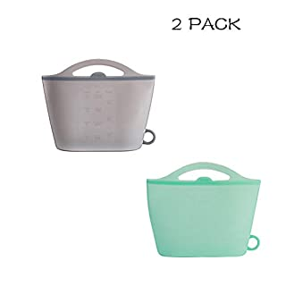 Upgraded 2 Pack Reusable Silicone Food Bag Zip Lock Containers, BPA Free Leakproof Storage Bags for Fruit/Snack/Vegetables (Clear/Green)