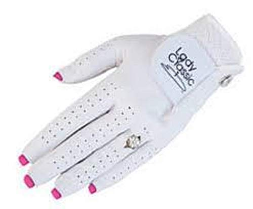 Ladies Nail Ring Golf Glove Medium Left Hand White