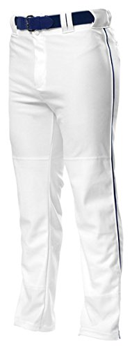 A4 Youth Pro Style Piped Baggy Baseball Pants White/Navy Xl