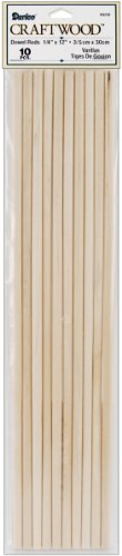 Dowel Rod - Wood - 1/4 x 12 inches - 10 pieces -