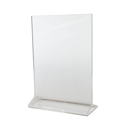 (Pack of 6) Cristil 5x7 Acrylic Menu Holder / Upright Sign Holder / Clear Table Card Display / Plastic Photo Frame / Wedding Picture - Frame Plastic