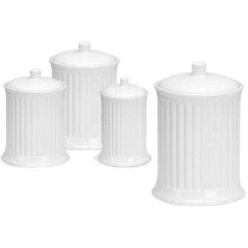 - OmniWare Simsbury White Stoneware Canister, Set of 4