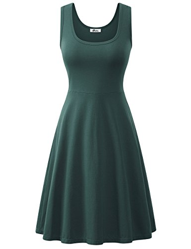- Herou Summer Spring Sleeveless Cotton Casual Dresses for Women (Grayish Green, Small)