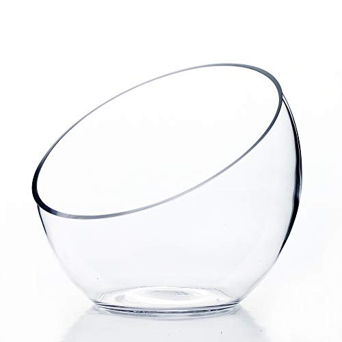 WGV Clear Slant Cut Bowl Glass Vase/Glass Terrarium/Candy Jar, 6