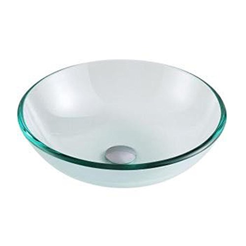 QIERAO Glass Vessel Bathroom Vanity Sink Round Bowl Tempered Glass (Clear color)