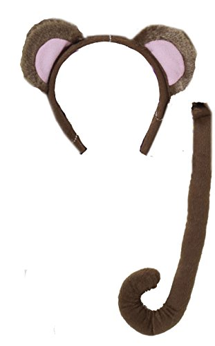 71198 Monkey Ears & Tail Set Animae Brown -