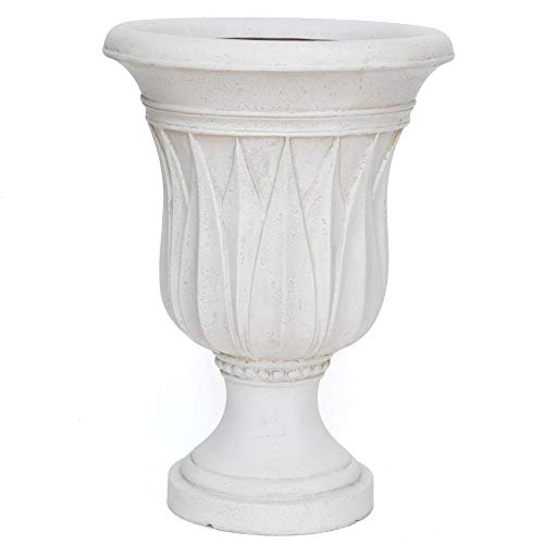 MPG 21 in. H. Aged White Cast Stone Sharp Leaf Urn