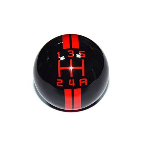 SMKJ 5 Speed Mustang Red line Shift Knob Black Car Gear Stick Shift Shifter Knob Automatic Manual Shifter Knob Suitable for Most Transmission Vehicles (Shifter Black Gear And Red)