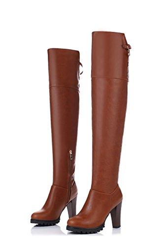 JIEEME Ladies Winter Zip Round Toe Block Heels Boots High Heels Brown Red Over-The-Knee Knight Boots Brown VDvg1GTvLQ