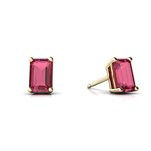 Cut Emerald Tourmaline Earring Pink - 14kt Yellow Gold Pink Tourmaline 6x4mm Emerald_Cut Emerald-Cut Stud Earrings