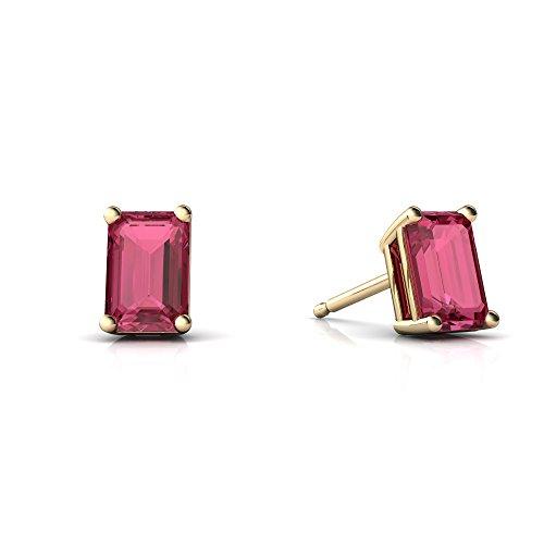 Earring Cut Emerald Pink Tourmaline - 14kt Yellow Gold Pink Tourmaline 6x4mm Emerald_Cut Emerald-Cut Stud Earrings