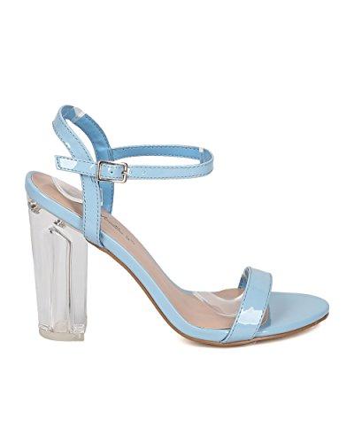 Breckelles Kvinnor Öppen Tå Blockera Häl Sandal - Lucite Chunky Häl - Ankelbandet Sandal - Gi17 Blå Patent