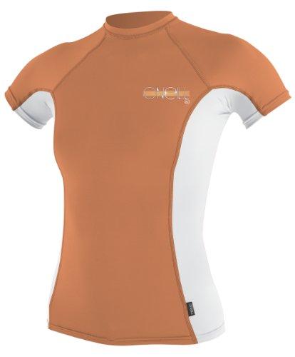 O'Neill Wetsuits Women's Skins Short Sleeve Crew Rash Guard Shirt, Sorbet/White, X-Small