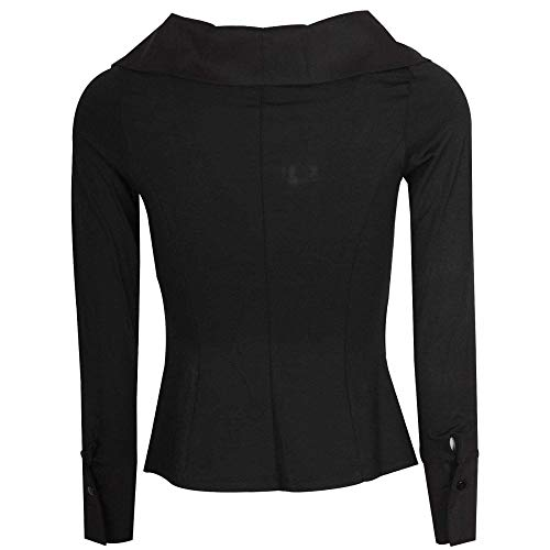 Over neck Latte Deep Cross V Blouse Black Ruched qwTHAUP