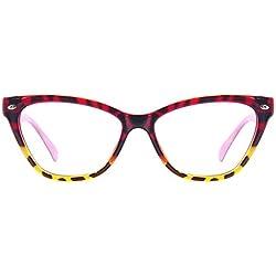 Sexy Mujer ojos de gato gafas de lectura, moda ultra luz marco completo de TR90 marco de los vidrios del marco de la miopía radiación de luz plana Gafas (Color : Multi-colored, Size : 1.5x)