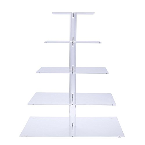 Sumerflos 5-Tier Square Clear Cupcake Stand - Acrylic Cake Tree Tower - Wedding, Party and Baby Shower Cupcake Display Stand (5-Tier-Square) -
