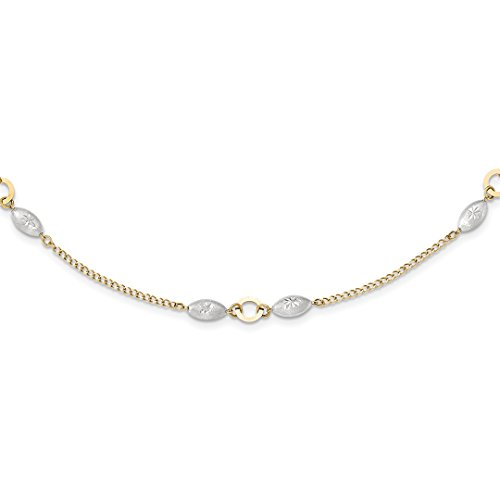 ICE CARATS 14kt Two Tone Yellow Gold Puff Beads 2 Inch Extension Chain Necklace Pendant Charm Bead Station Fine Jewelry Ideal Gifts For Women Gift Set From (Yellow Gold Puff)