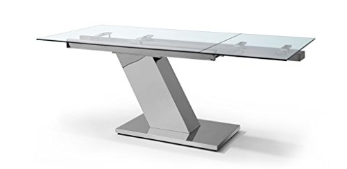 Ultra Sleek Stainless Steel & Glass Modern Executive Desk or Conference Table (Extends)