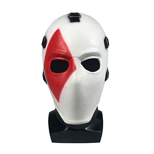 Nuoka Halloween Costume Cosplay Poker Face Mask Latex Fortnit Mask for Masquerade Christmas Party (Square Face Mask)]()