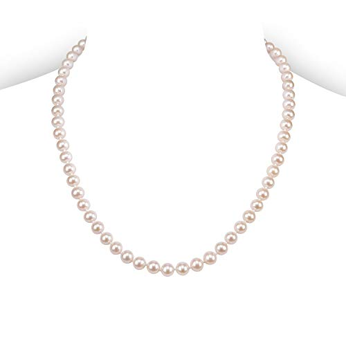 (PAVOI Sterling Silver White Freshwater Cultured Pearl Necklace (18, 6mm))