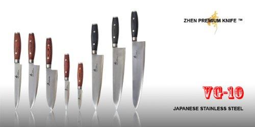 ZHEN Japanese VG-10 5-Piece 3-Layer Forged Steel Cutlery Knife Set, Pakka Wood by ZHEN (Image #6)