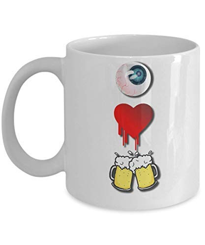 I Love Beer Mug Funny Halloween One Eye Heart Cheers White Coffee Cup Novelty Coffee Mugs Quote Motivational Mug Cup Funny Ceramic Cup 11oz -