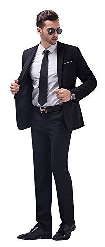 WULFUL Men's Suit One Button Slim Fit 2 Piece Suit for Men Casual/Formal/Wedding Party/Tuxedo by WULFUL