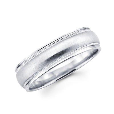 Sólido 14 K oro blanco para mujer para hombre satén Milgrain anillo de alta polaco de