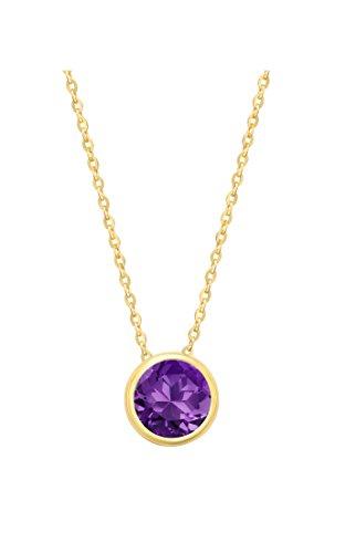 14k Yellow Gold 7mm Round Amethyst Bezel Gemstone Pendant Necklace, ()