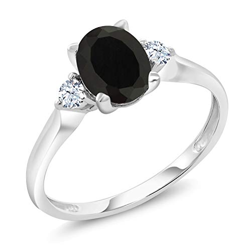 Gem Stone King 10K White Gold Black Onyx and White Created Sapphire 3-Stone Women's Ring 1.35 Ctw (Size 8)