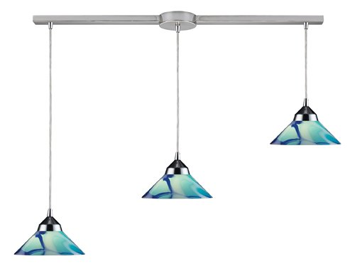 Elk 1477/3L-CAR 3-Light Pendant in Polished Chrome and Caribbean Glass