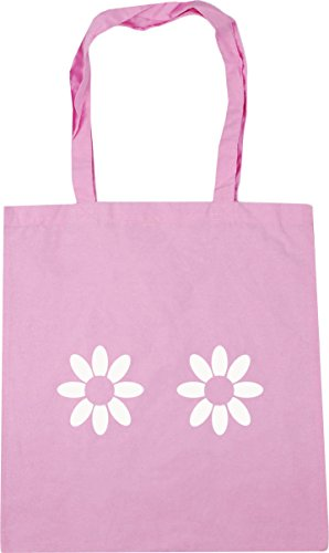 pattern Bag Beach HippoWarehouse Daisy 10 Shopping x38cm 42cm Gym Classic litres Pink Tote fqaHqw