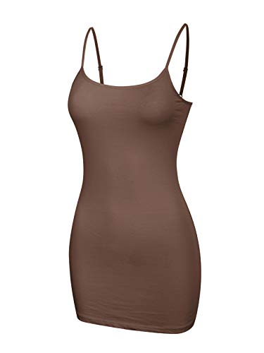 - Design by Olivia Women's Women's Basic Solid Long Length Adjustable Spaghetti Strap Tank Top Coffee Brown L