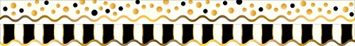 Barker Creek - Office Products Double-Sided Bulletin Board Border Scalloped Edge, Gold Bars, 39' (LL-902) ()