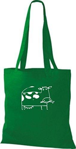 ShirtInStyle Bolsa de tela Bolsa de algodón Divertida Animales Muchacho De Vaca - verde lima, 38 cm x 42 cm kelly