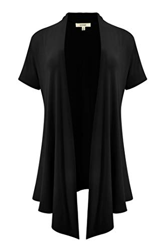 (LUVAGE Women's Soft Drape Cardigan Short Sleeve XS to 6XL Size-Made in USA Black)
