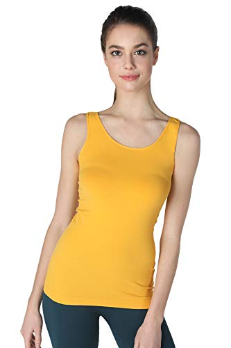NIKIBIKI Women Seamless Premium Classic Tank Top, Made in U.S.A, One Size (Mango)