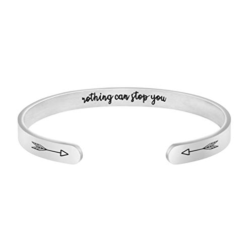 Nothing Can Stop Bracelet Inspirational Jewelry Gifts for Teen Girl Hidden Message Cuff Mantra Quote Unique Present ()