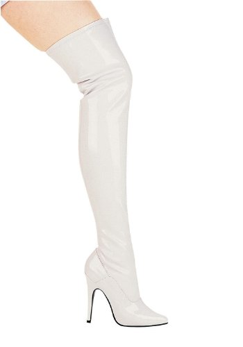 Ellie Shoes Womens 5 Inch Heel Thigh High Stretch Boot white stretch patent w/zip ROvPIOGQ