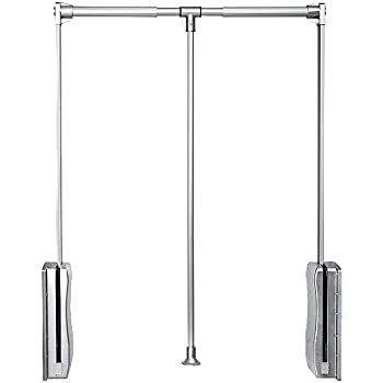 Gimify Pull Down Closet Rod Wardrobe Lift Organizers Storage Systerm Hanger  Rod For Hanging Clothes Space Saving Aluminum  Adjustable(23.62inch 32.68inch)