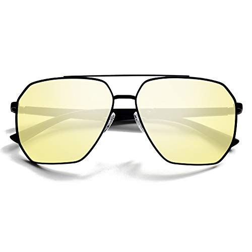 BEDO Anti Glare HD Night Vision Yellow Polarized TAC Glasses for Men Driving Shades