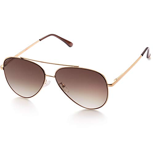 LotFancy Aviator Sunglasses for Men, Flat Lens Sunglasses with Case, UV400 Protection, 61MM, Lightweight Eyewear for Driving Fishing Sports, Brown Gradient Lens, Gold Metal ()