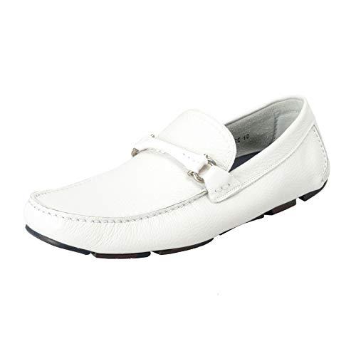 (Salvatore Ferragamo Men's Granprix White Leather Slip On Loafers Shoes Sz 10 EEE EU 43 EEE)