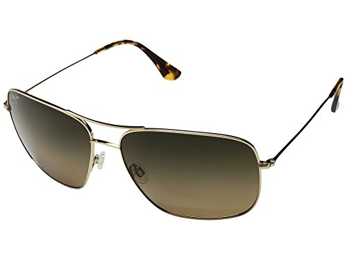 - Maui Jim Cook Pines HS774-16 | Polarized Gold Aviator Frame Sunglasses, HCL Bronze Lenses, with Patented PolarizedPlus2 Lens Technology