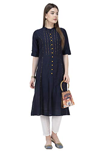 Lagi Women Designer Straight A-Line Kurta Kurtis top Tunic Dresses Polly Silk Rayon Cotton Kurtis Kurta (M, Blue ()