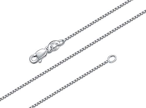 (BORUO 925 Sterling Silver Box Chain Necklace, 1mm Solid Italian Nickel-Free Lobster Claw Clasp 20 Inch)