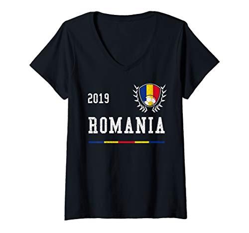 - Womens Romania Football Jersey 2019 Romanian Soccer Jersey V-Neck T-Shirt