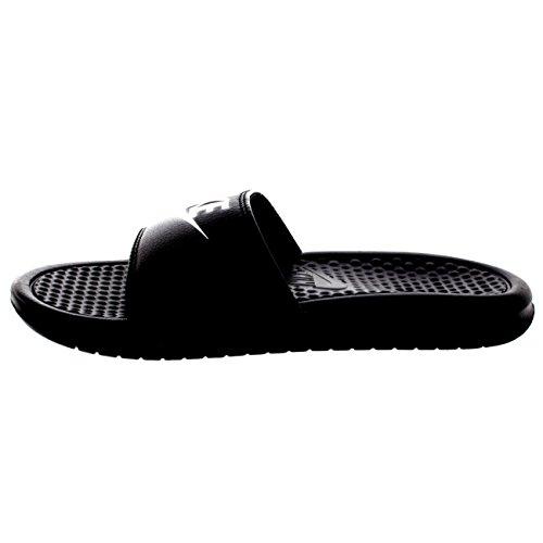 Hombre Nike Benassi Jdi Ligeras Diapositivas Playa Sandalias De Vacaciones De Verano - Negro / Blanco - 10