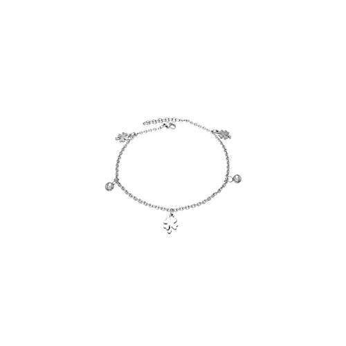 Stainless Steel Love Heart Shamrock Flower Ball Charm Anklet by NRG 316L Jewelry (Image #1)