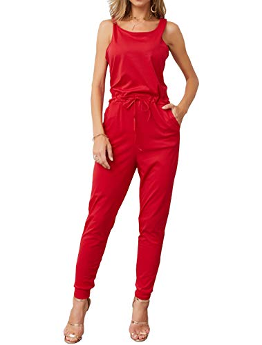 KIRUNDO Women's 2019 Summer Solid Casual Sleeveless Drawstring Waist Long Pants Rompers Jumpsuits with Pockets (X-Large, Wine - Waist Drawstring Jumpsuit